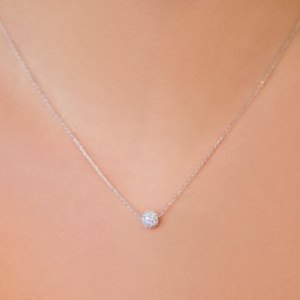 925 SILVER CHAIN WITH ROUND CRYSTAL PENDANT