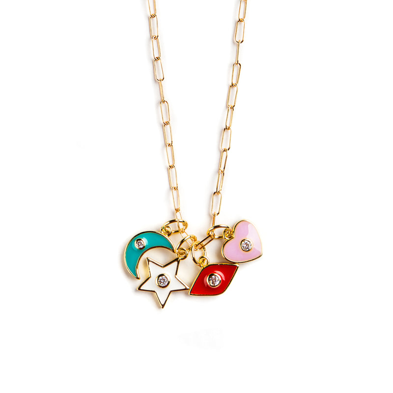 925 GOLD PLATED CHAIN WITH COLORFUL PENDANTS