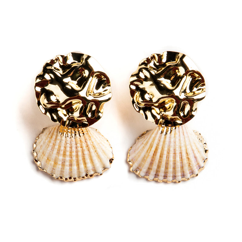 925 SILVER GOLD PLATED EARRINGS WITH SHELL