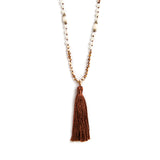 THREAD NECKLACE WITH PEARLS BROWN TASSELS AND CRYSTALS