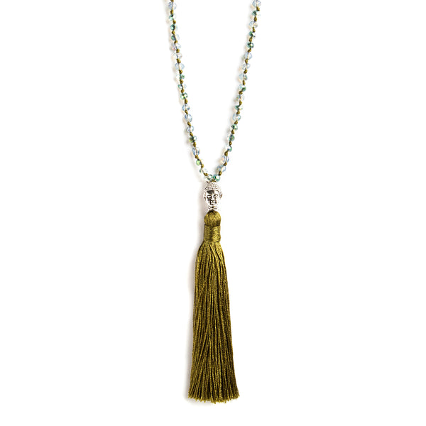 THREAD NECKLACE WITH OLIVE TASSELS AND CRYSTALS