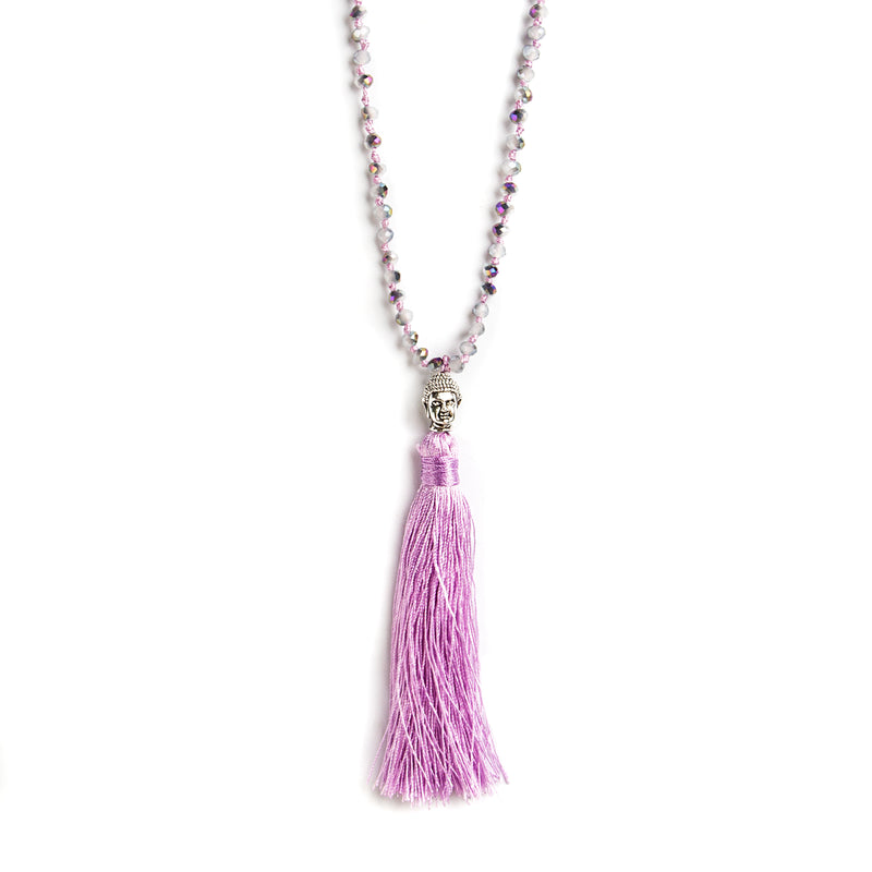 THREAD NECKLACE WITH LILAC TASSLE AND CRYSTALS