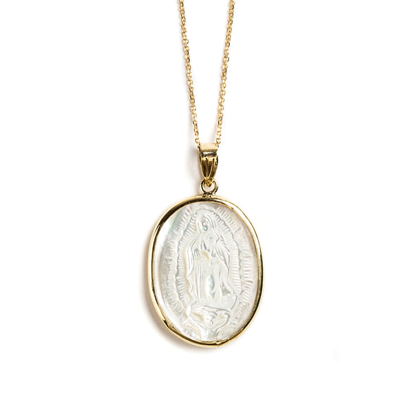 14K GOLD MEDAL WITH GUADALIPE VIRGIN OF MOTHER OF PEARL