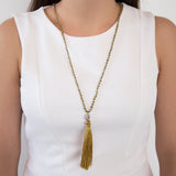 THREAD NECKLACE WITH YELLOW TASSELS AND CRYSTALS