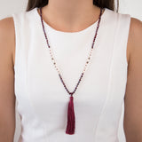 THREAD NECKLACE WITH BURGANDY TASSELS AND CRYSTALS