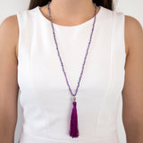 THREAD NECKLACE WITH PURPLE TASSLE AND CRYSTALS