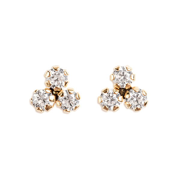 14K GOLD BABY EARRINGS WITH ROUND CRYSTALS