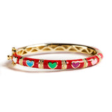 925 GOLD PLATED SILVER BRACELET WITH RED ENAMEL AND HEARTS