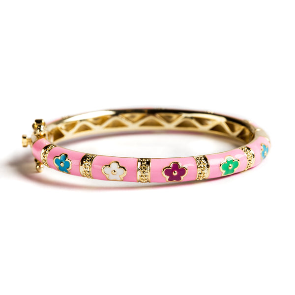 925 GOLD PLATED SILVER BRACELET WITH PINK ENAMEL AND FLOWERS