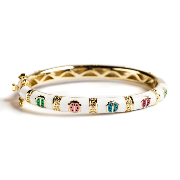 925 GOLD PLATED SILVER BRACELET WITH WHITE ENAMEL AND LADYBUG