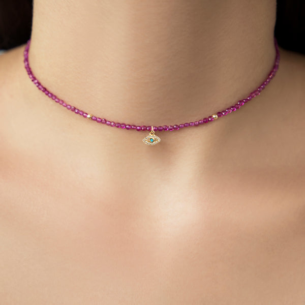 925 SILVER GOLD PLATED CHOKER WITH GARNET