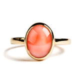 14K YELLOW GOLD SOLITAIRE BEZEL RING WITH CORAL
