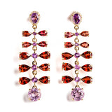 14K YELLOW GOLD EARRING WITH DIAMONDS, GARNET AND AMETHYST