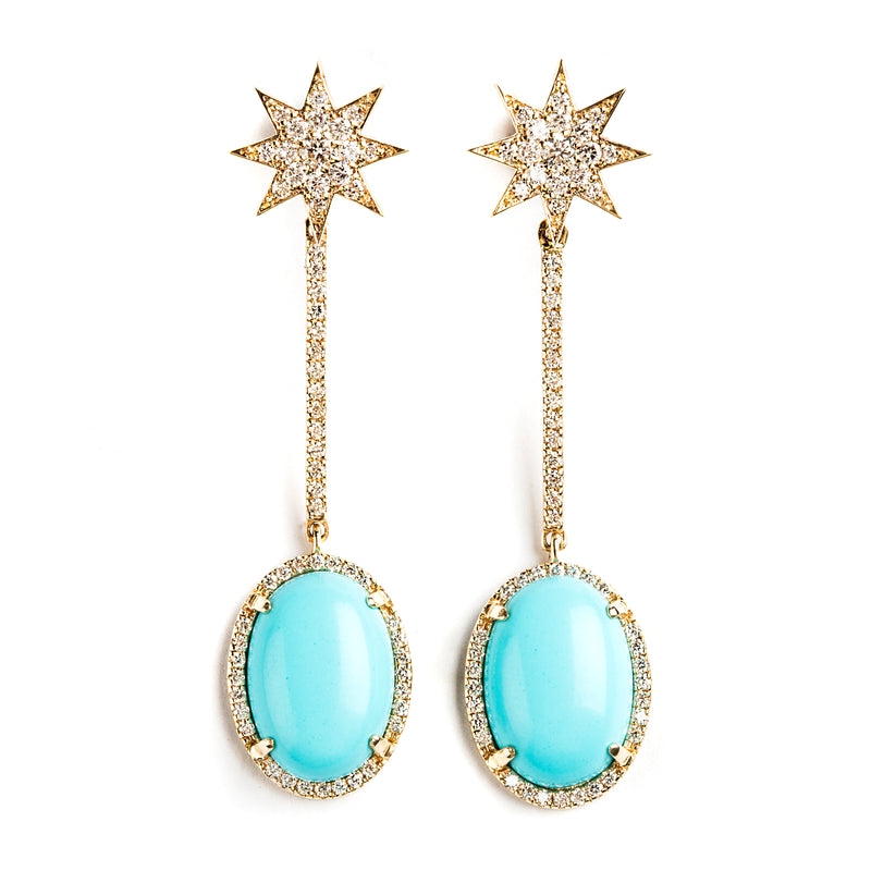 14K GOLD EARRINGS WITH DIAMONDS HALO AND TURQUOISE