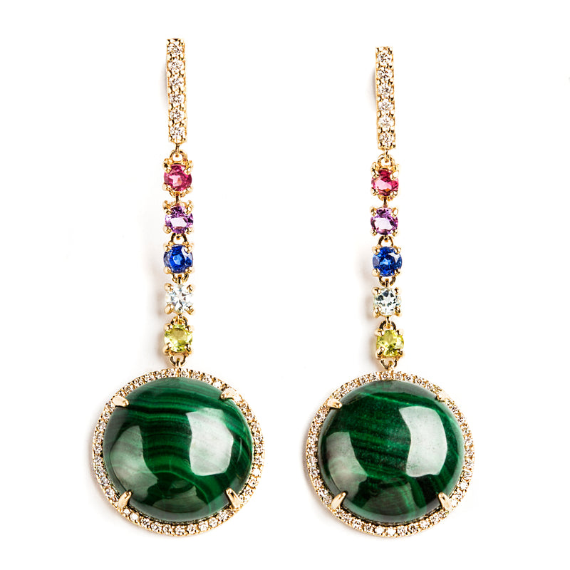 14K YELLOW GOLD EARRINGS WITH DIAMONDS, MALACHITE AND MULTI COLOR SAPPHIRES