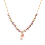 14K YELLOW GOLD PENDANT WITH ROSE QUARTS AND MULTI  COLOR SAPPHIRE