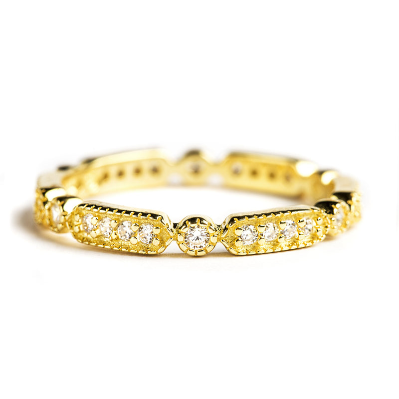 925 GOLD PLATED SILVER ETERNITY RING WITH CRYSTALS