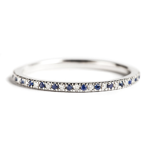 14K WHITE GOLD RING WITH DIAMONDS AND SAPPHIRES