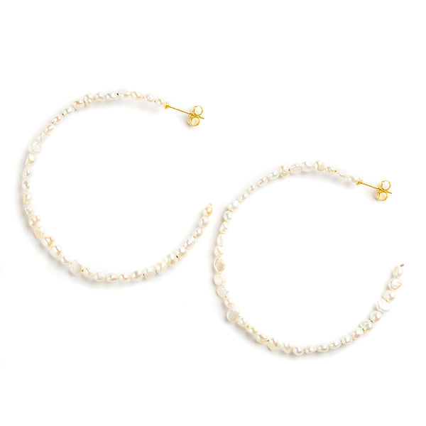 925 SILVER GOLD PLATED HOOPS WITH PEARLS