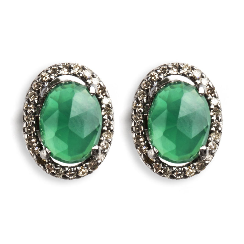 925 BLACK RHODIUM PLATED SILVER EARRINGS WITH GREEN ONYX