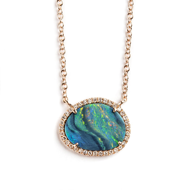 14K ROSEGOLD NECKLACE WITH OPAL AND DIAMONDS
