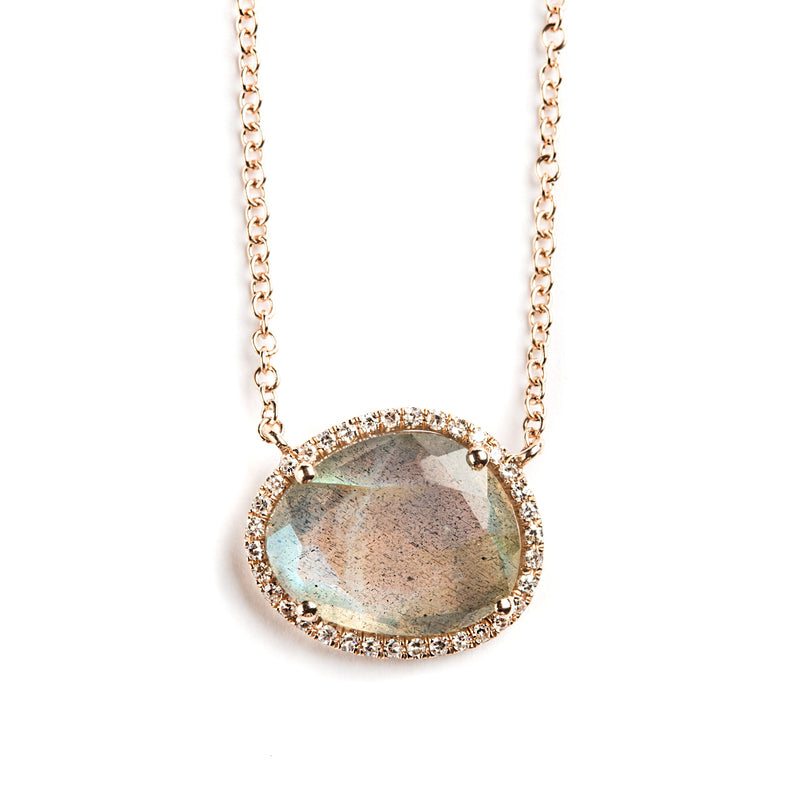 14K ROSEGOLD NECKLACE WITH LABRADORITE AND DIAMONDS