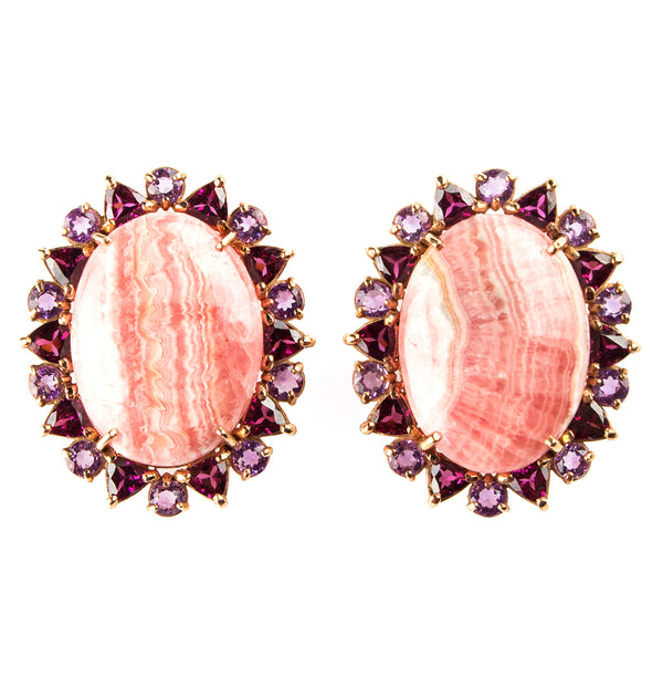 14K ROSE GOLD EARRINGS WITH RHOCHROSITE Y AMETHYST