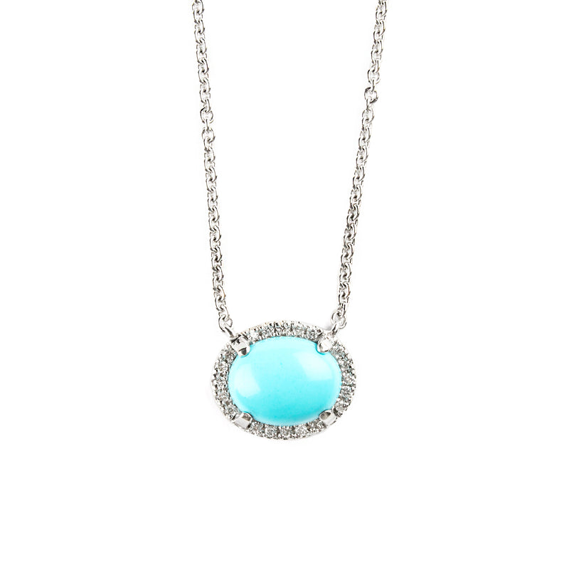 14K WHITE GOLD PENDANT WITH TURQUOISE AND DIAMONDS