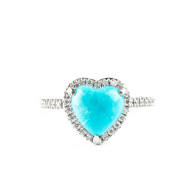 14K WHITE GOLD RING WITH HEART TURQUOISE AND DIAMONDS