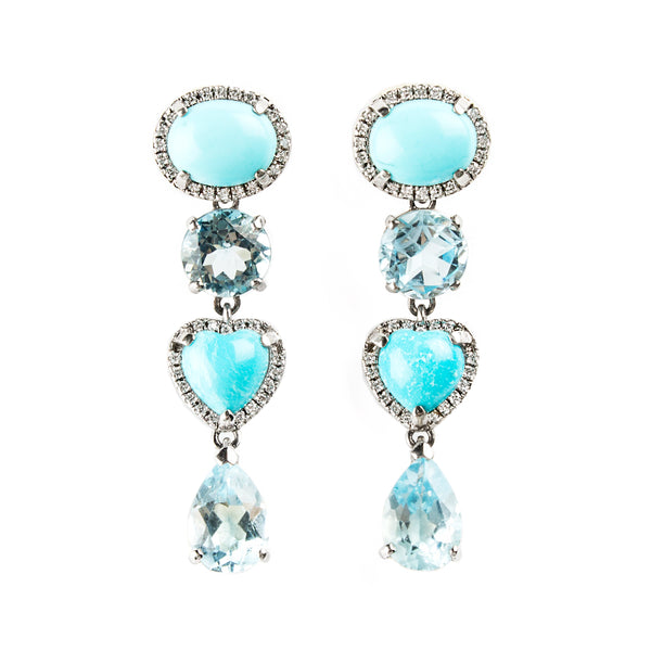 14K WHITE GOLD EARRINGS WITH BLUE TOPAZ, TOURQUOIS AND DIAMONDS