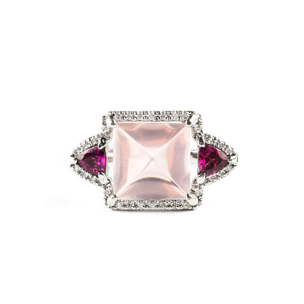 14K WHITE GOLD RING WITH DIAMONDS, ROSE QUARTZ AND RHODOLITE