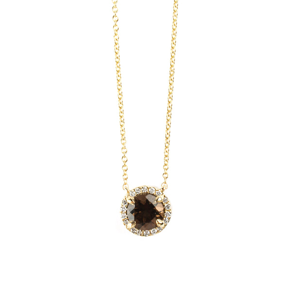 14K YELLOW GOLD PENDANT WITH SMOKEY QUARTZ AND DIAMONDS