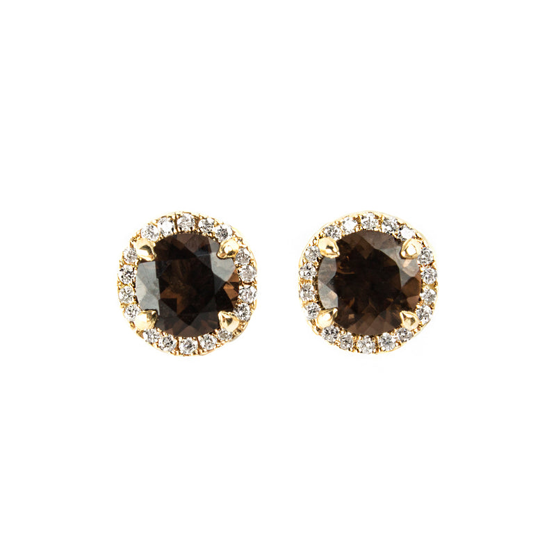 14K YELLOW GOLD HALO STUDS WITH DIAMONDS AND SMOKEY QUARTZ