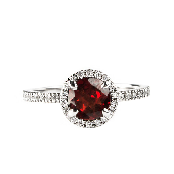 14K WHITE GOLD HALO RING WITH DIAMONDS AND GARNET