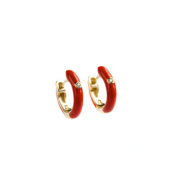 925 GOLD PLATED SILVER HUGGIES WITH RED ENAMEL
