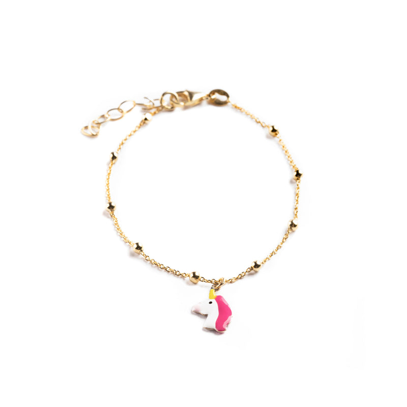 925 GOLD PLATED SILVER BRACELET WITH UNICORN PENDANT