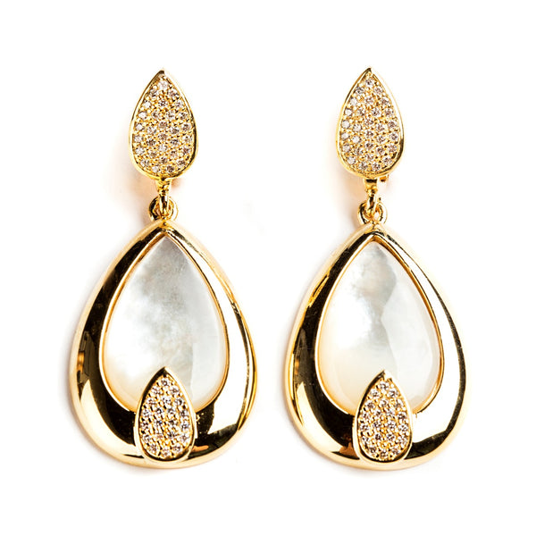 925 SILVER GOLD PLATED DROP EARRINGS WITH MOTHER OF PEARL AND CRYSTALS
