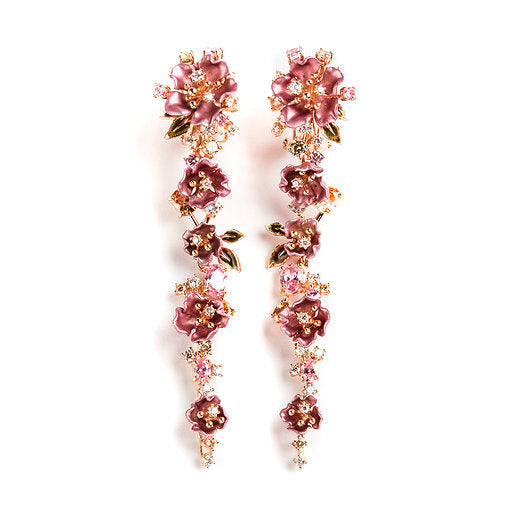 925 SILVER ROSE GOLD PLATED EARRINGS WITH PINK FLOWERS AND WHITE AND PINK CRISTALS
