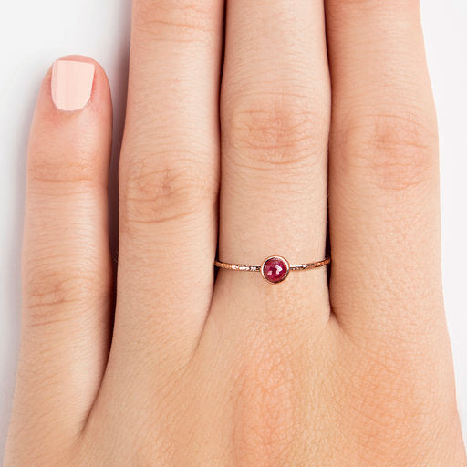 925 SILVER ROSEGOLD PLATED RING WITH RUBY BALL