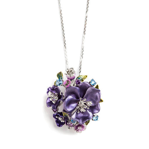 925 SILVER PURPLE FLOWER PENDANT WITH BLUE TOPAZ AND CRYSTALS