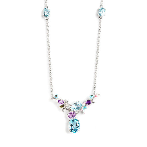 925 SILVER NECKLACE WITH  BLUE TOPAZ, AMETHYST AND WHITE TOPAZ