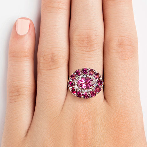 14K WHITE GOLD RING WITH DIAMONDS AND RHODOLITE