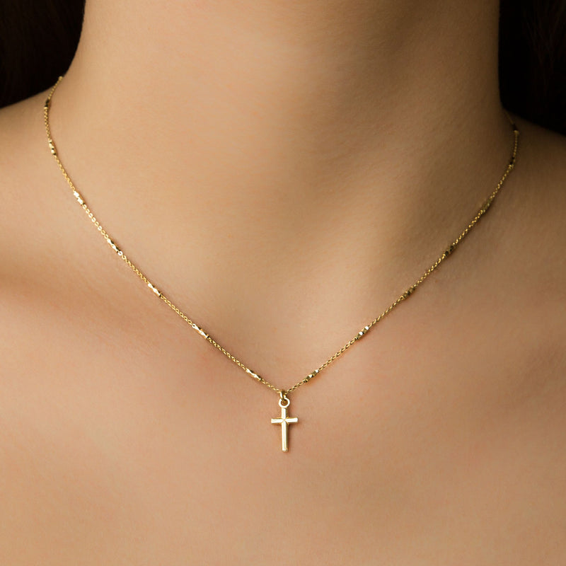 925 GOLD LONG PLATED CHAIN WITH CROSS