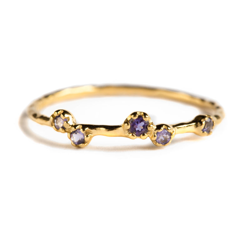 925 SILVER GOLD PLATED RING WITH IOLITE
