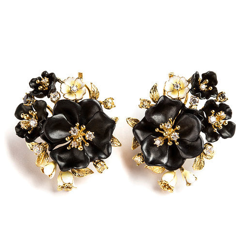 925 SILVER GOLD PLATED EARRINGS WITH WHITE AND BLACK FLOWERS AND WHITE CRISTALS
