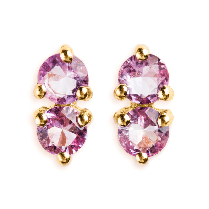 925 SILVER GOLD PLATED EARRINGS WITH AMETHYST