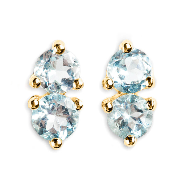925 SILVER GOLD PLATED EARRINGS WITH BLUE TOPAZ