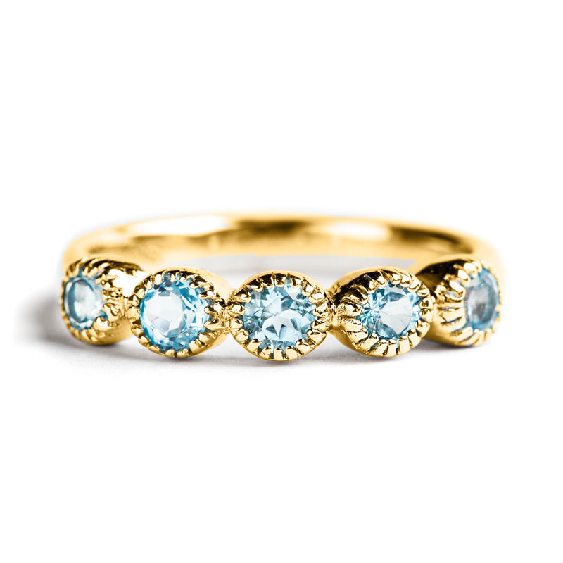 925 SILVER GOLD PLATED SEMI INFINITY RING WITH BLUE TOPAZ