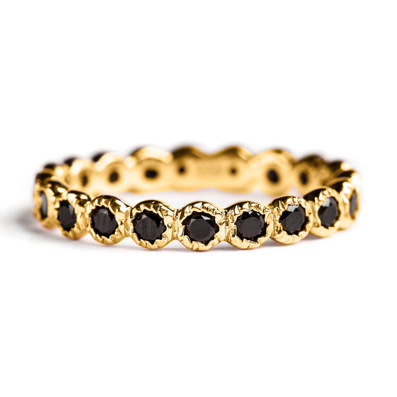 925 SILVER GOLD PLATED RING WITH BLACK SPINEL