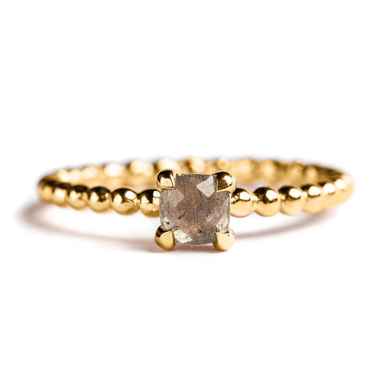 925 SILVER GOLD PLATED CUSHION RING WITH LABRODOLITE